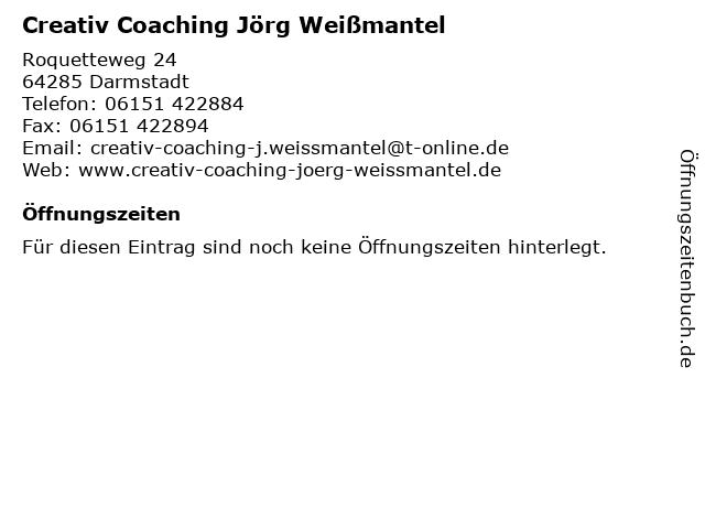 Creativ Coaching Jörg Weißmantel in Darmstadt: Adresse und Öffnungszeiten