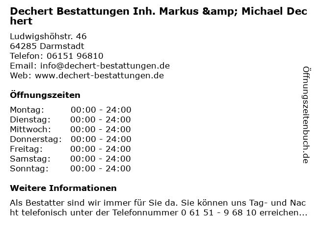 DECHERT Bestattungen & Vorsorge in Darmstadt: Adresse und Öffnungszeiten