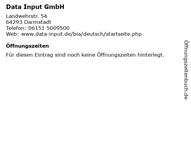 Data Input GmbH in Darmstadt: Adresse und Öffnungszeiten