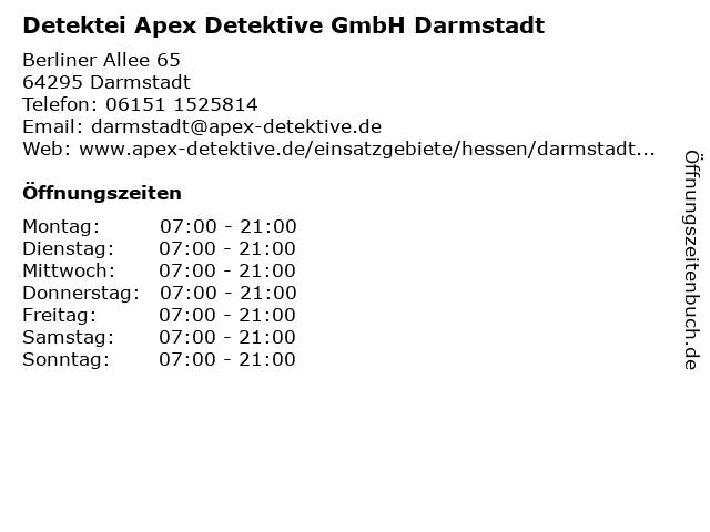 Detektei Apex Detektive GmbH Darmstadt in Darmstadt: Adresse und Öffnungszeiten