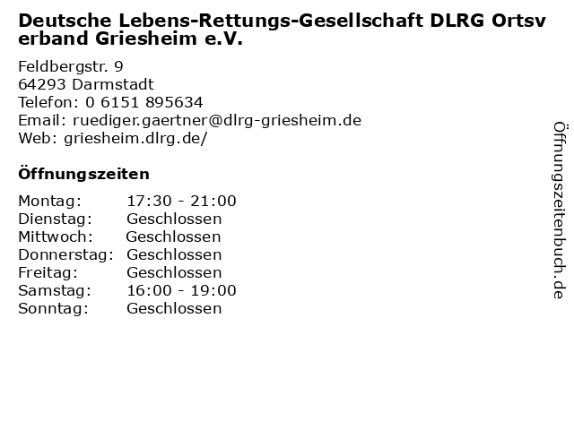 Deutsche Lebens-Rettungs-Gesellschaft DLRG Ortsverband Griesheim e.V. in Darmstadt: Adresse und Öffnungszeiten
