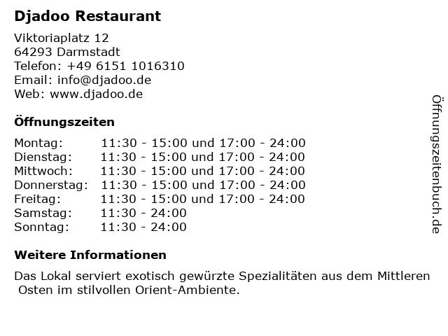 Djadoo Restaurant in Darmstadt: Adresse und Öffnungszeiten