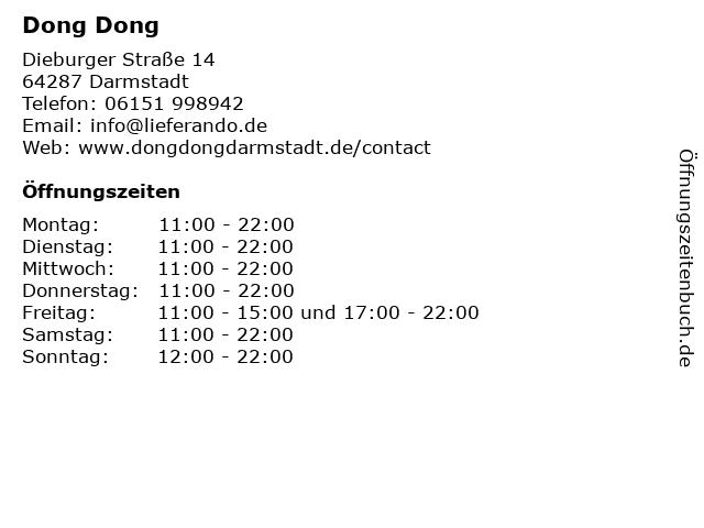 Dong Dong in Darmstadt: Adresse und Öffnungszeiten