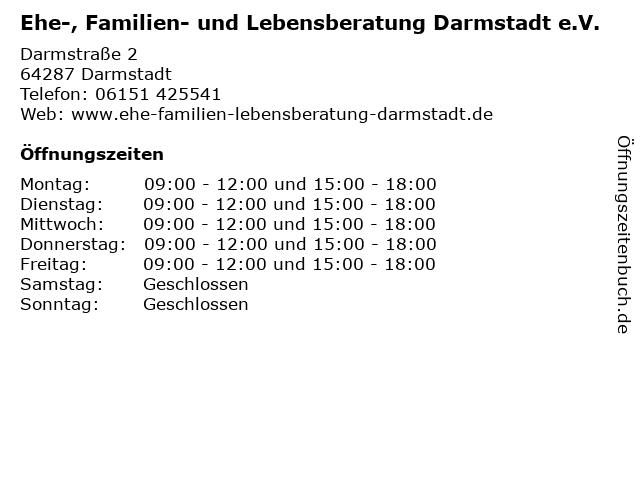 Ehe-, Familien- und Lebensberatung Darmstadt e.V. in Darmstadt: Adresse und Öffnungszeiten