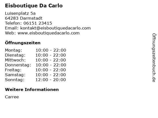 Eisboutique Da Carlo in Darmstadt: Adresse und Öffnungszeiten