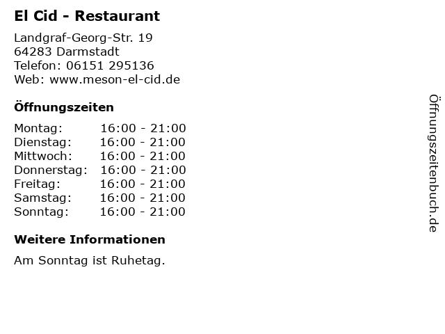 El Cid Darmstadt Öffnungszeiten