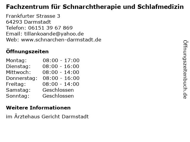 Fachzentrum für Schnarchtherapie und Schlafmedizin in Darmstadt: Adresse und Öffnungszeiten