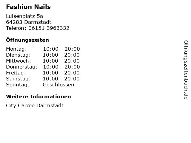 Fashion Nails in Darmstadt: Adresse und Öffnungszeiten