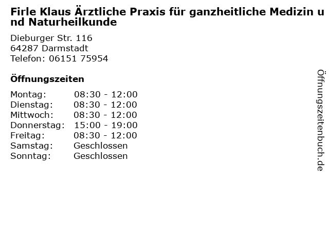 Firle Klaus Ärztliche Praxis für ganzheitliche Medizin und Naturheilkunde in Darmstadt: Adresse und Öffnungszeiten
