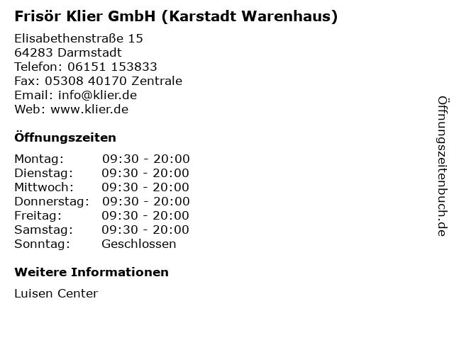 Frisör Klier GmbH (Karstadt Warenhaus) in Darmstadt: Adresse und Öffnungszeiten