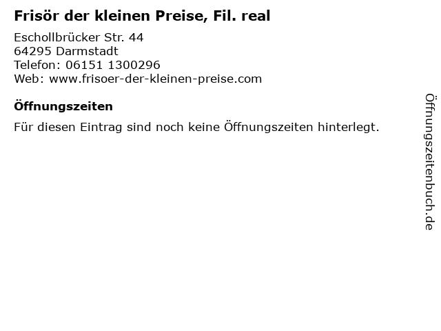 Frisör der kleinen Preise, Fil. real in Darmstadt: Adresse und Öffnungszeiten