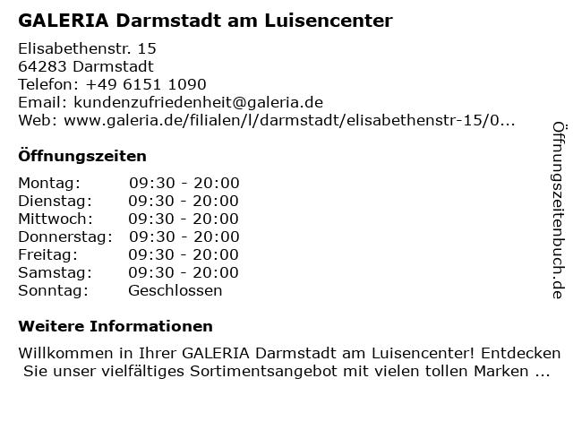 GALERIA (Karstadt) Darmstadt Elisabethenstraße in Darmstadt: Adresse und Öffnungszeiten
