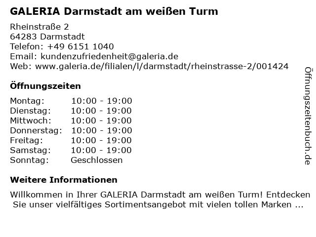 GALERIA (Kaufhof) Darmstadt Rheinstraße in Darmstadt: Adresse und Öffnungszeiten