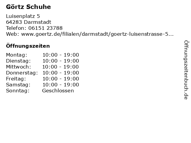Görtz Schuhe in Darmstadt: Adresse und Öffnungszeiten