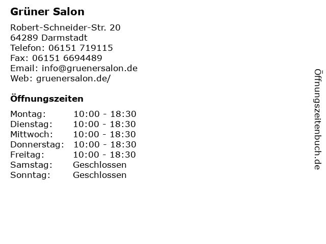 Grüner Salon in Darmstadt: Adresse und Öffnungszeiten