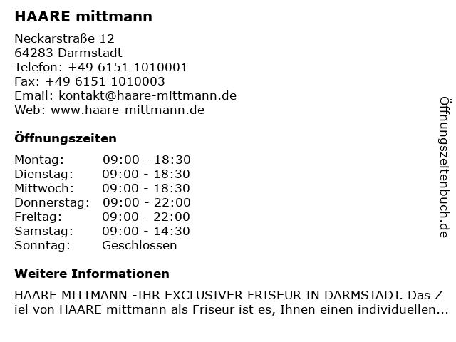 HAARE mittmann in Darmstadt: Adresse und Öffnungszeiten
