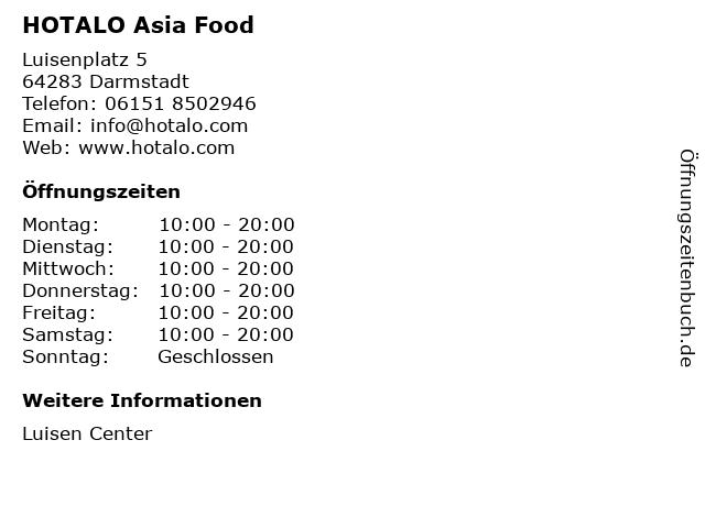 HOTALO Asia Food in Darmstadt: Adresse und Öffnungszeiten