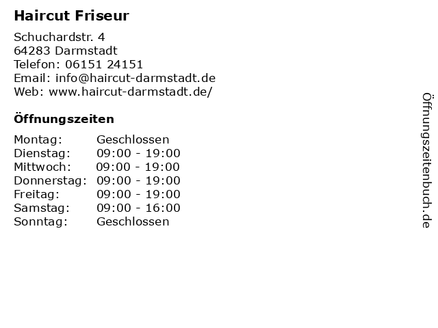 Haircut Friseur in Darmstadt: Adresse und Öffnungszeiten
