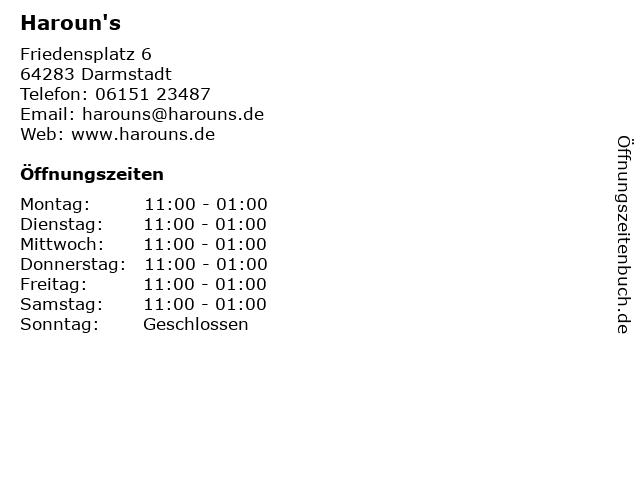 Haroun's in Darmstadt: Adresse und Öffnungszeiten