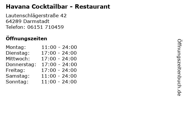 Havana Cocktailbar - Restaurant in Darmstadt: Adresse und Öffnungszeiten