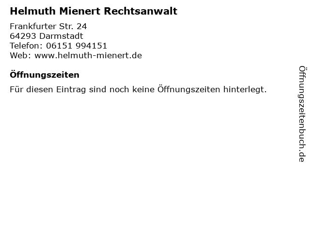 Helmuth Mienert Rechtsanwalt in Darmstadt: Adresse und Öffnungszeiten