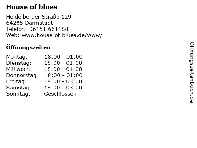House of blues in Darmstadt: Adresse und Öffnungszeiten
