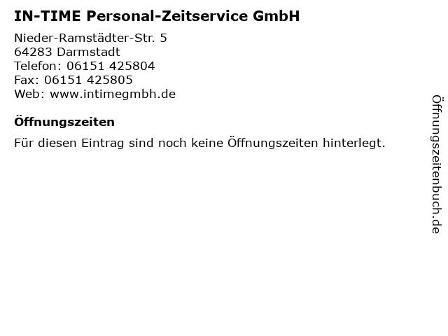 IN-TIME Personal-Zeitservice GmbH in Darmstadt: Adresse und Öffnungszeiten