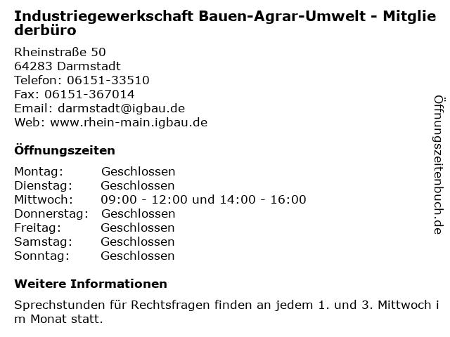 Industriegewerkschaft Bauen-Agrar-Umwelt - Mitgliederbüro in Darmstadt: Adresse und Öffnungszeiten