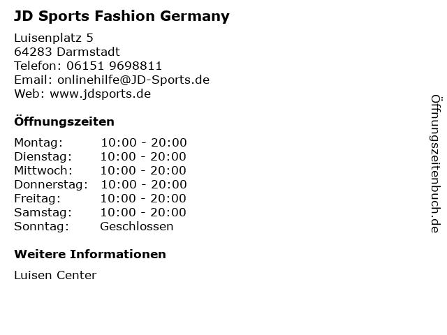 JD Sports Fashion Germany in Darmstadt: Adresse und Öffnungszeiten
