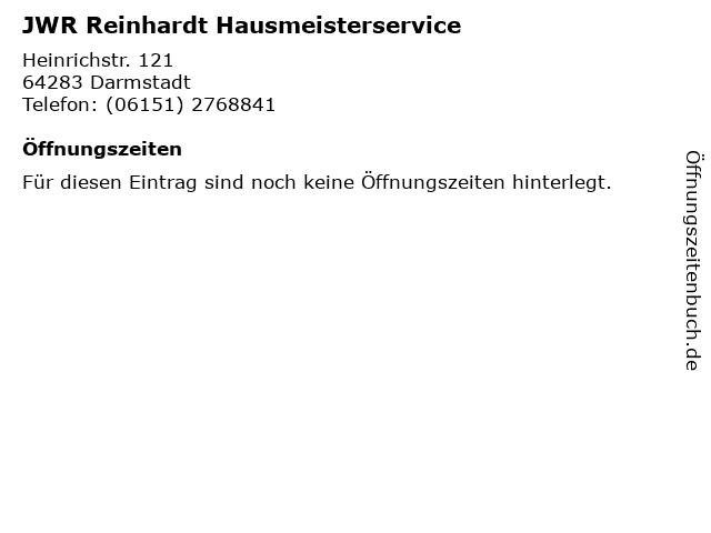 JWR Reinhardt Hausmeisterservice in Darmstadt: Adresse und Öffnungszeiten