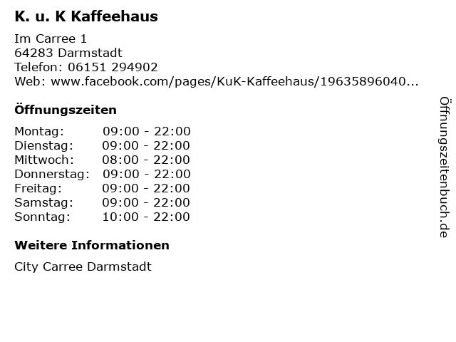 K. u. K Kaffeehaus in Darmstadt: Adresse und Öffnungszeiten