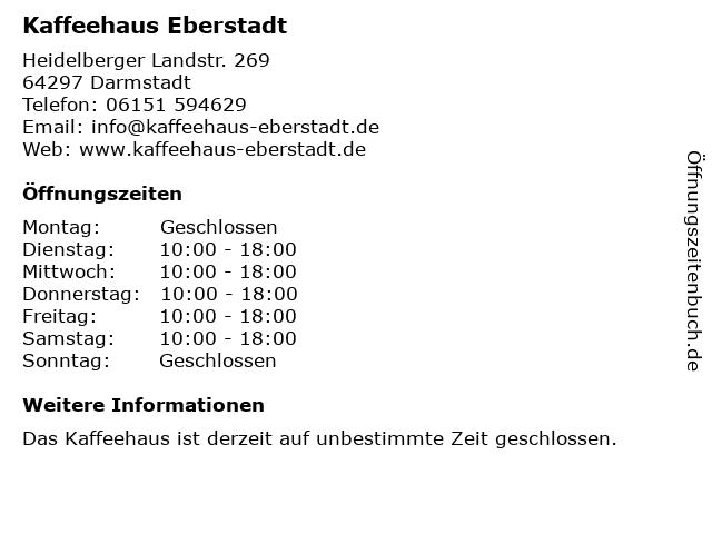 Kaffeehaus Eberstadt in Darmstadt: Adresse und Öffnungszeiten