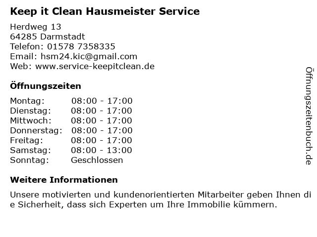 Keep it Clean Hausmeister Service in Darmstadt: Adresse und Öffnungszeiten