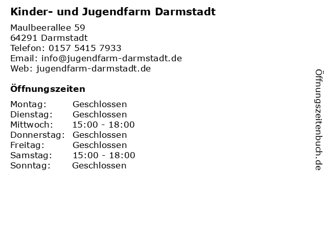 Kinder- und Jugendfarm Darmstadt in Darmstadt: Adresse und Öffnungszeiten