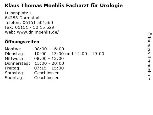 Klaus Thomas Moehlis Facharzt für Urologie in Darmstadt: Adresse und Öffnungszeiten
