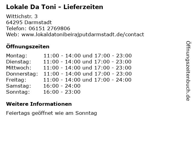 Lokale Da Toni - Lieferzeiten in Darmstadt: Adresse und Öffnungszeiten