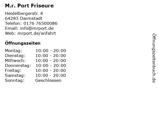 M.r. Port Friseure in Darmstadt: Adresse und Öffnungszeiten
