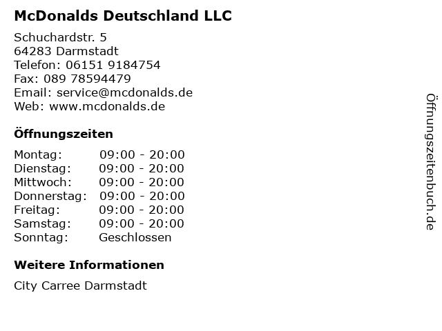 McDonalds Deutschland LLC in Darmstadt: Adresse und Öffnungszeiten