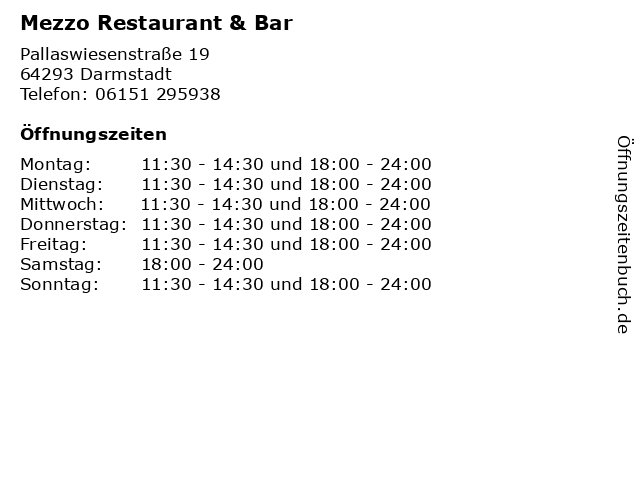 Mezzo Restaurant & Bar in Darmstadt: Adresse und Öffnungszeiten