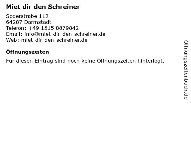 Miet dir den Schreiner in Darmstadt: Adresse und Öffnungszeiten