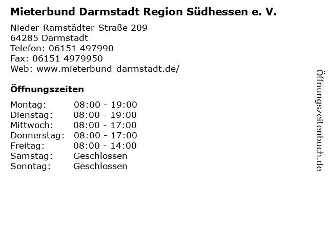 Mieterbund Darmstadt Region Südhessen e. V. in Darmstadt: Adresse und Öffnungszeiten