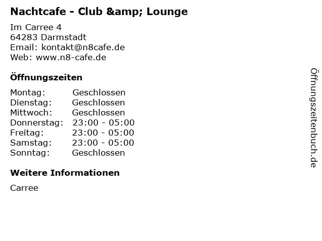 Nachtcafe - Club & Lounge in Darmstadt: Adresse und Öffnungszeiten