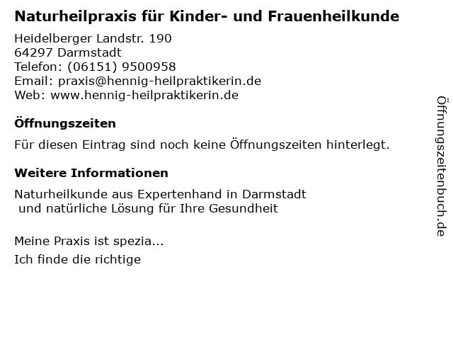 Naturheilpraxis für Kinder- und Frauenheilkunde in Darmstadt: Adresse und Öffnungszeiten