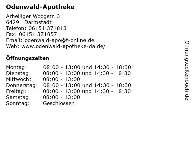 Odenwald-Apotheke in Darmstadt: Adresse und Öffnungszeiten