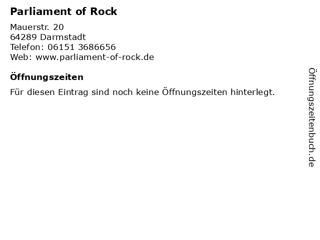 Parliament of Rock in Darmstadt: Adresse und Öffnungszeiten