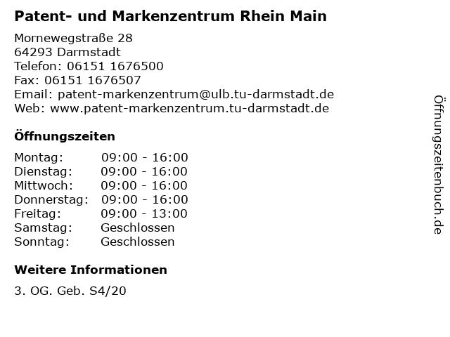 Patent- und Markenzentrum Rhein Main in Darmstadt: Adresse und Öffnungszeiten