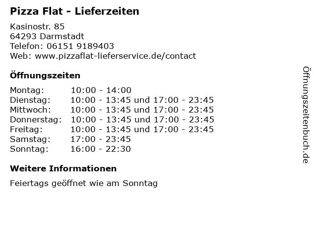 Pizza Flat - Lieferzeiten in Darmstadt: Adresse und Öffnungszeiten