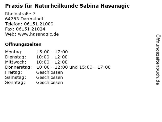 Praxis für Naturheilkunde Sabina Hasanagic in Darmstadt: Adresse und Öffnungszeiten