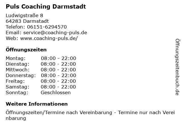 Puls Coaching Darmstadt in Darmstadt: Adresse und Öffnungszeiten