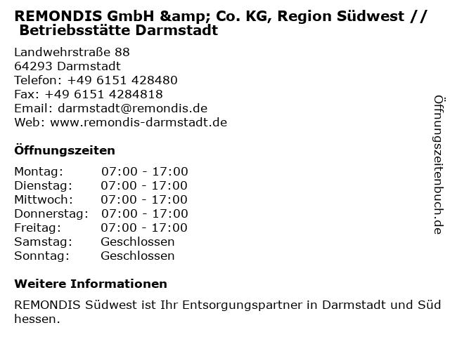 REMONDIS GmbH & Co. KG, Region Südwest in Darmstadt: Adresse und Öffnungszeiten
